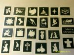 Christmas themed stencils (mixed) for etching on to glass      angel king santa snowman sleigh tree